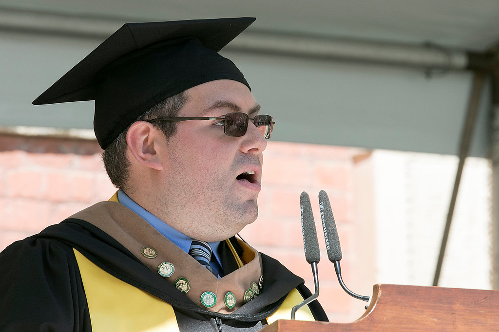 . The 123rd Commencement ceremony for Undergraduates was held at Fitchburg State University on Saturday, May 18, 2019. Greetings from Alumni was given by President of the Alumni Association Nicholas Smith, Class of 2011. SENTINEL & ENTERPRISE/JOHN LOVE