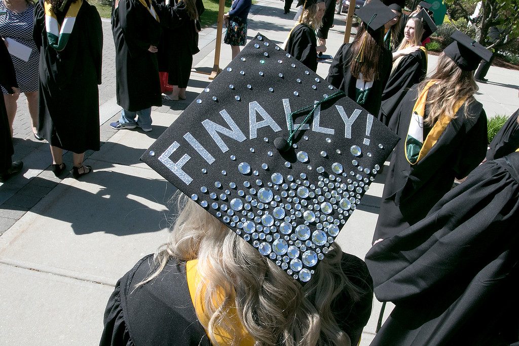 . The 123rd Commencement ceremony for Undergraduates was held at Fitchburg State University on Saturday, May 18, 2019. One of the many decorated mortar boards at the graduation. SENTINEL & ENTERPRISE/JOHN LOVE