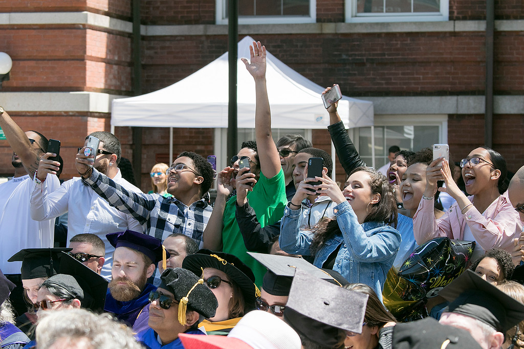 . The 123rd Commencement ceremony for Undergraduates was held at Fitchburg State University on Saturday, May 18, 2019. Family and friends celebrates for one of the graduates as their name was called. SENTINEL & ENTERPRISE/JOHN LOVE