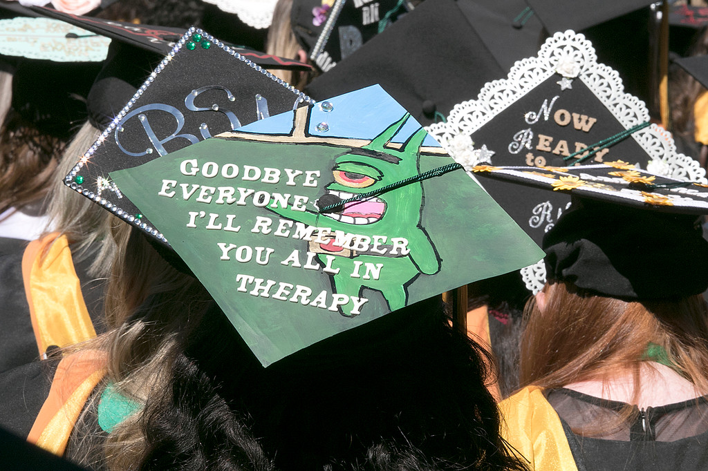 . The 123rd Commencement ceremony for Undergraduates was held at Fitchburg State University on Saturday, May 18, 2019. One of the decorated mortar boards at the ceremony. SENTINEL & ENTERPRISE/JOHN LOVE