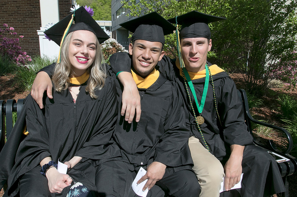 . The 123rd Commencement ceremony for Undergraduates was held at Fitchburg State University on Saturday, May 18, 2019. Waiting for the ceremony to start is Hannah Keohan from Lunenburg, Herbert Acosta from Los Angeles, and Tommy Parsons From Peabody. SENTINEL & ENTERPRISE/JOHN LOVE
