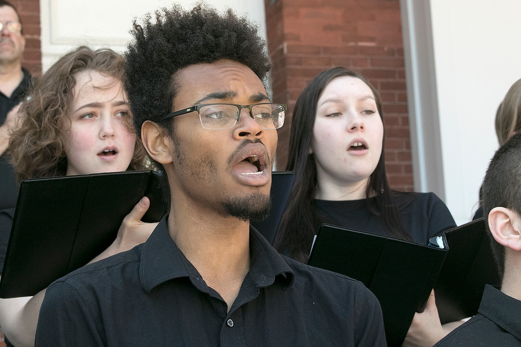. The 123rd Commencement ceremony for Undergraduates was held at Fitchburg State University on Saturday, May 18, 2019. The FSU Chamber Choir sang the national anthem to help start off the ceremony. Singing with the Choir is Daniel Hankins from Abington. SENTINEL & ENTERPRISE/JOHN LOVE