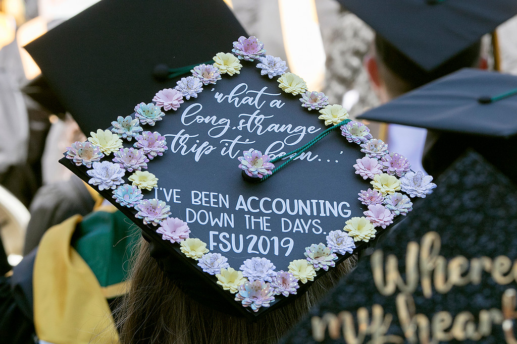 . The 123rd Commencement ceremony for Undergraduates was held at Fitchburg State University on Saturday, May 18, 2019. One of the many decorated mortar boards. SENTINEL & ENTERPRISE/JOHN LOVE