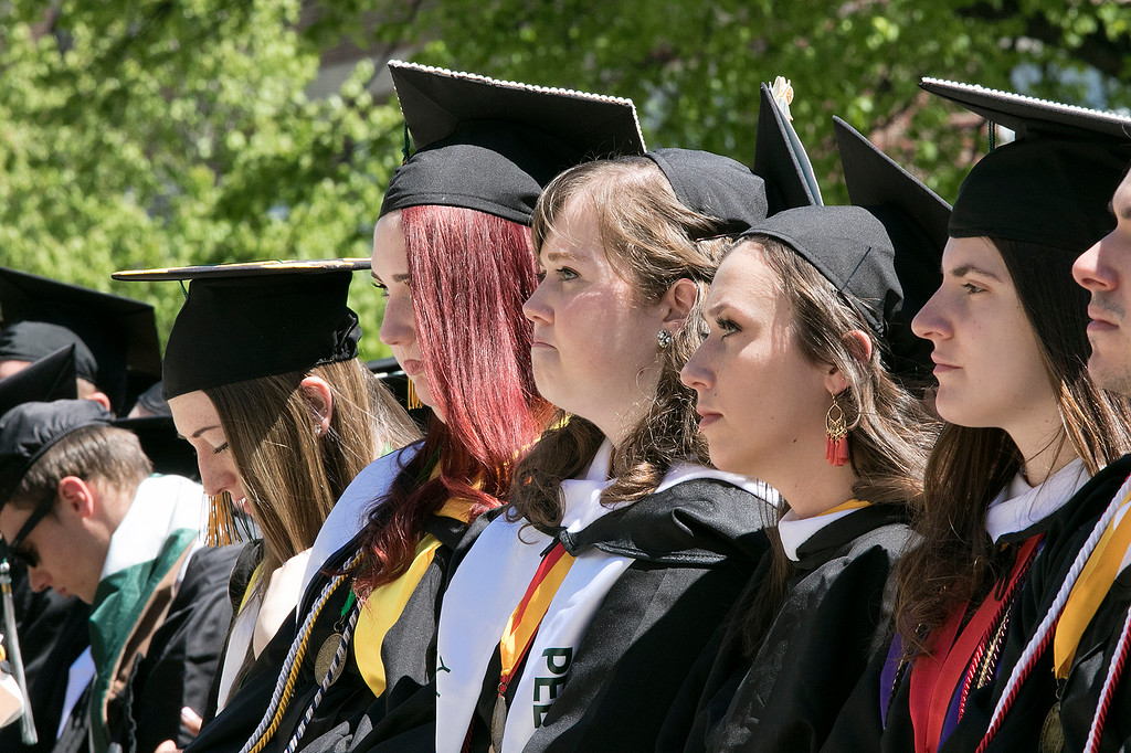 . The 123rd Commencement ceremony for Undergraduates was held at Fitchburg State University on Saturday, May 18, 2019. Graduates listen to the speakers. SENTINEL & ENTERPRISE/JOHN LOVE