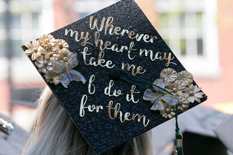 The 123rd Commencement ceremony for Undergraduates was held at Fitchburg State University on Saturday, May 18, 2019. One of the decorated mortar boards at the ceremony. SENTINEL & ENTERPRISE/JOHN LOVE