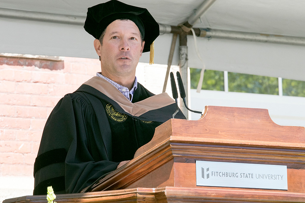 . The 123rd Commencement ceremony for Undergraduates was held at Fitchburg State University on Saturday, May 18, 2019. This years commencement address was given by Steven Borges the Executive Vice President and Chief Executive Officer for Nypro Healthcare and and 1990 graduate of FSU. SENTINEL & ENTERPRISE/JOHN LOVE