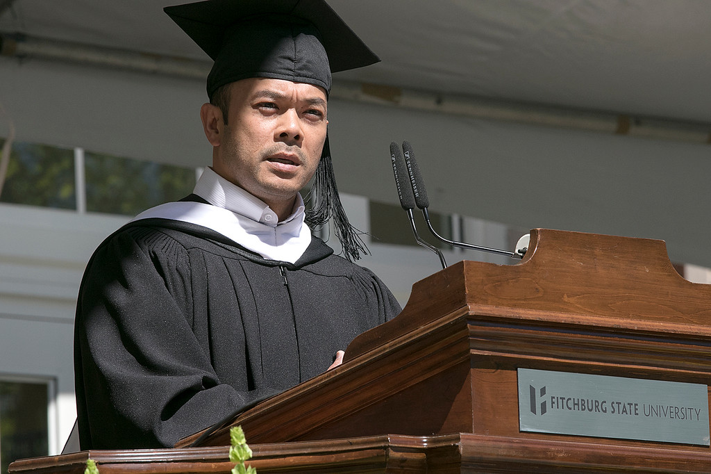. The 123rd Commencement ceremony for Undergraduates was held at Fitchburg State University on Saturday, May 18, 2019. State Senator Dean Tran addresses the graduates during the ceremony. SENTINEL & ENTERPRISE/JOHN LOVE