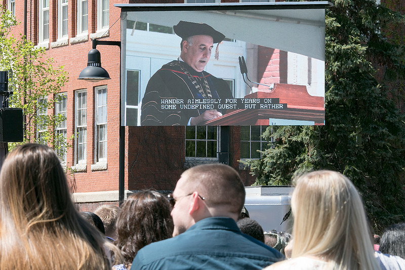 The 123rd Commencement ceremony for Undergraduates was held at Fitchburg State University on Saturday, May 18, 2019. FSU President Dr. Richard Lapidus addressed the graduates during the ceremony on a big screen. SENTINEL & ENTERPRISE/JOHN LOVE
