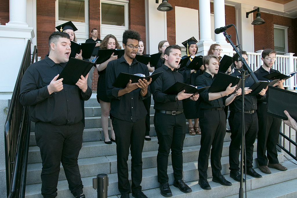 . The 123rd Commencement ceremony for Undergraduates was held at Fitchburg State University on Saturday, May 18, 2019. The FSU Chamber Choir sang the national anthem to help start off the ceremony. SENTINEL & ENTERPRISE/JOHN LOVE