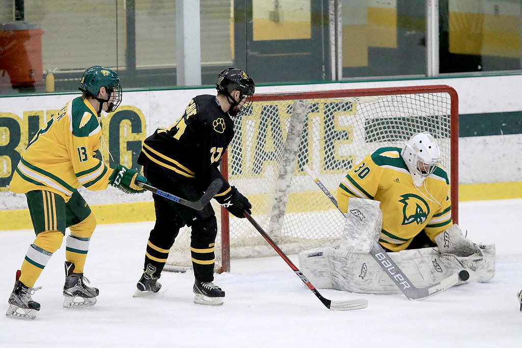. Fitchburg State University hockey played Wentworth Institute on Saturday, January 12, 2018 at the Wallace Civic Center in Fitchburg. FSU\'s Joseph Miller and WI\'s Nate Chase watch as FSU goalie Matthew Stephan stops a shot  on goal during the first period. Fitchburg State lost, 7-5. SENTINEL & ENTERPRISE/JOHN LOVE