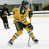 Fitchburg State University hockey played Wentworth Institute on Saturday, January 12, 2018 at the Wallace Civic Center in Fitchburg. FSU's Dean Zerby fires a shot goal for the first point of the game. SENTINEL & ENTERPRISE/JOHN LOVE