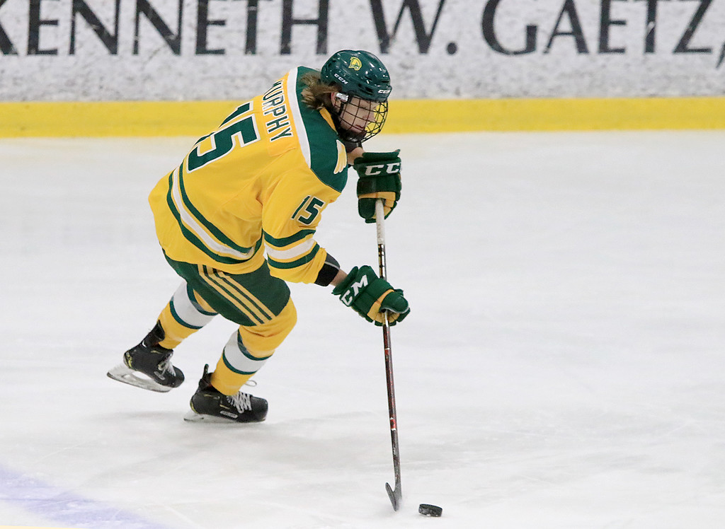 . Fitchburg State University hockey played Wentworth Institute on Saturday, January 12, 2018 at the Wallace Civic Center in Fitchburg. FSU\'s Ryan Murphy gets control of the puck. SENTINEL & ENTERPRISE/JOHN LOVE