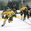Fitchburg State University hockey played Wentworth Institute on Saturday, January 12, 2018 at the Wallace Civic Center in Fitchburg. FSU's Dean Zerby gets control of the puck and takes off down ice and ends with the first pints of the game. SENTINEL & ENTERPRISE/JOHN LOVE