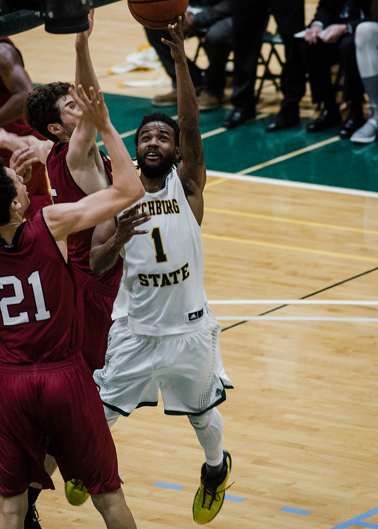 . Fitchburg State\'s Jerrell Gomes in action during the game against MIT on Saturday, December 9, 2017. SENTINEL & ENTERPRISE / Ashley Green