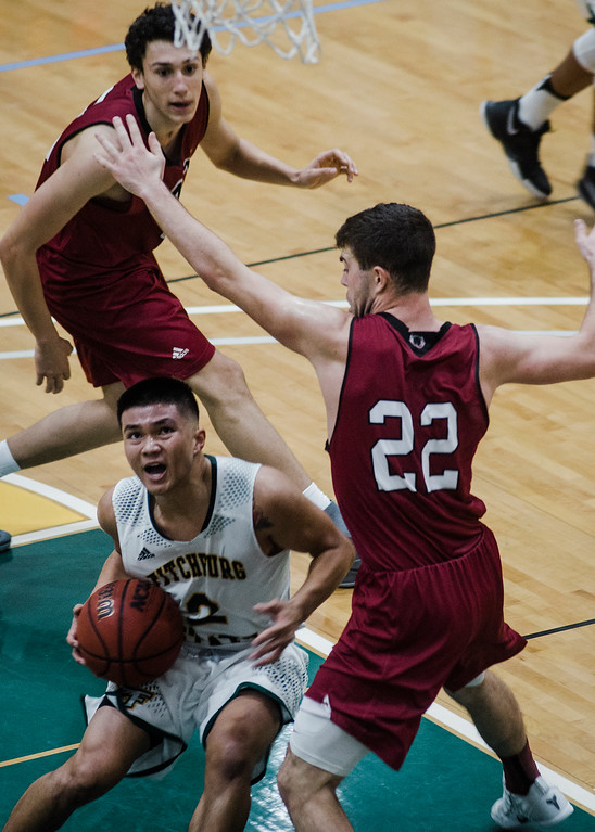 . Fitchburg State\'s Brandon Guerrero in action during the game against MIT on Saturday, December 9, 2017. SENTINEL & ENTERPRISE / Ashley Green