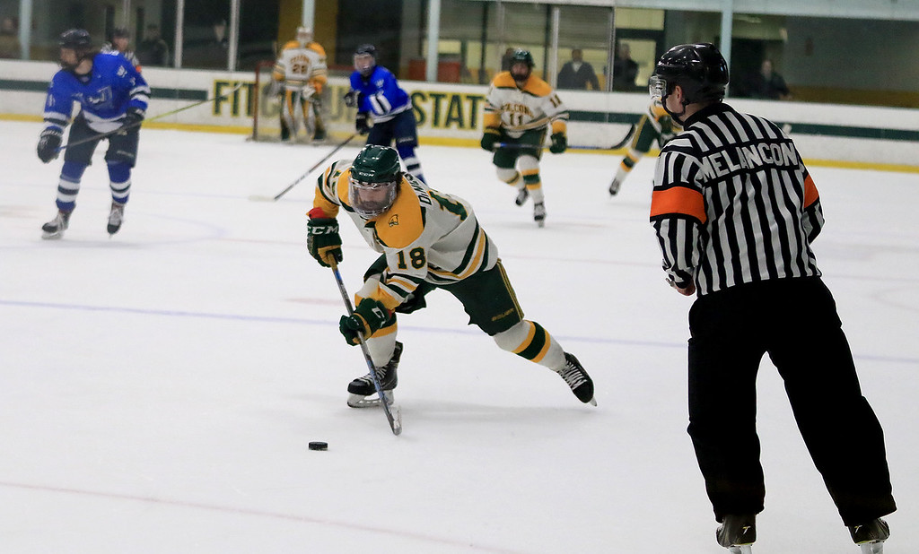 . Fitchburg State University men\'s hockey played Westfield State University on Saturday, February 16, 2019 at FSU\'s Wallace Civic Center. FSU\'s Nick DiNicola charges down on ice on a breakaway during action late in the first period. It ended in FSU second goal of the game. SENTINEL & ENERPRISE/JOHN LOVE