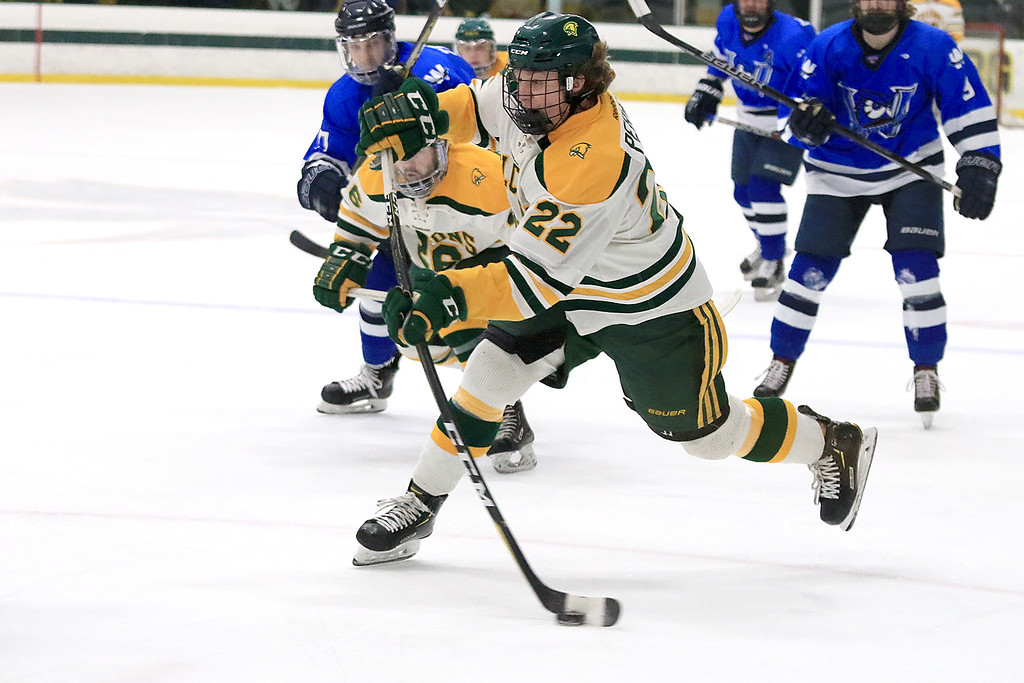 . Fitchburg State University men\'s hockey played Westfield State University on Saturday, February 16, 2019 at FSU\'s Wallace Civic Center. FSU\'s Kevin Perry takes takes a shot on goal during the first period of the game. ENTINEL & ENERPRISE/JOHN LOVE