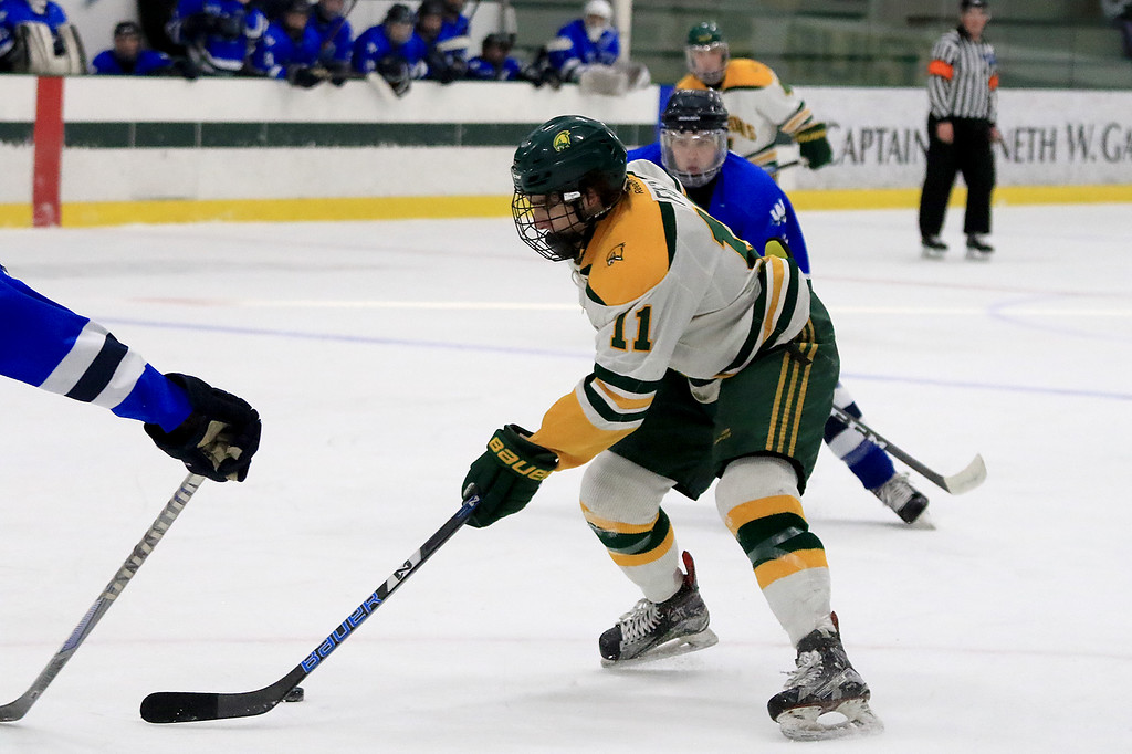 . Fitchburg State University men\'s hockey played Westfield State University on Saturday, February 16, 2019 at FSU\'s Wallace Civic Center. FSU\'s Sascha Figi tries to get control of the puck. SENTINEL & ENERPRISE/JOHN LOVE