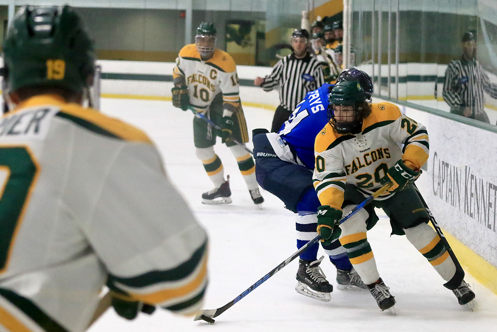 . Fitchburg State University men\'s hockey played Westfield State University on Saturday, February 16, 2019 at FSU\'s Wallace Civic Center. FSU\'s Christopher Vicario and WSU\'s Paul Frys fight for control of the puck. SENTINEL & ENERPRISE/JOHN LOVE
