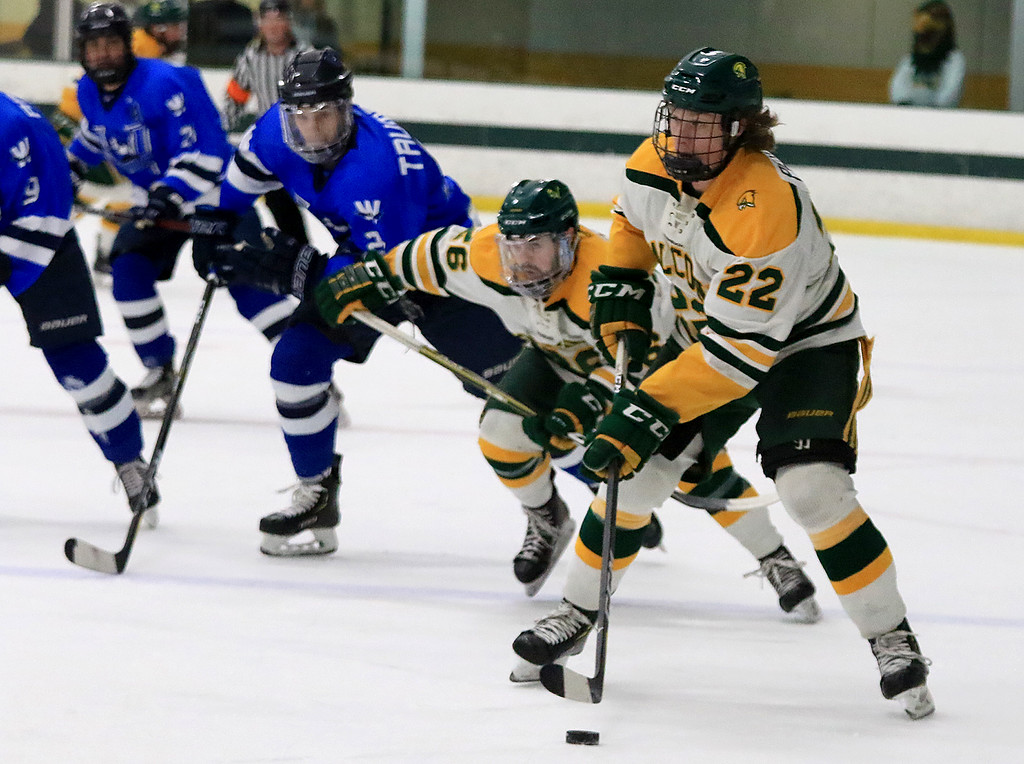 . Fitchburg State University men\'s hockey played Westfield State University on Saturday, February 16, 2019 at FSU\'s Wallace Civic Center. FSU\'s Kevin Perry takes control of the puck during the first period of the game. ENTINEL & ENERPRISE/JOHN LOVE