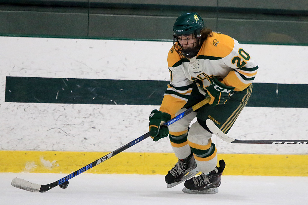 . Fitchburg State University men\'s hockey played Westfield State University on Saturday, February 16, 2019 at FSU\'s Wallace Civic Center. FSU\'s Christopher Vicario takes control of the puck. SENTINEL & ENERPRISE/JOHN LOVE
