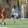 Fitchburg State University mens soccer played Salem State on Saturday, Nov. 2, 2019. FSU's #5 Prince Boateng get ready for SSU's #8 Lucas Amaral to kick the ball. SENTINEL & ENTERPRISE/JOHN LOVE