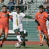 Fitchburg State University mens soccer played Salem State on Saturday, Nov. 2, 2019. FSU's #9 Marckdonard Bastien and SSU's #7 Joao DeSouza and #6 Dominique Panmo. SENTINEL & ENTERPRISE/JOHN LOVE