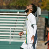Fitchburg State University mens soccer played Salem State on Saturday, Nov. 2, 2019. FSU's #10 Yannick DePina didn't like a call that cancelled out his score in the first half of the game. SENTINEL & ENTERPRISE/JOHN LOVE