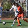 Fitchburg State University mens soccer played Salem State on Saturday, Nov. 2, 2019. FSU's #27 Joshua Atemkeng and SSU's #8 Lucas Amaral. SENTINEL & ENTERPRISE/JOHN LOVE