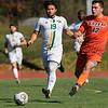 Fitchburg State University mens soccer played Salem State on Saturday, Nov. 2, 2019. FSU's #19 Gabriel Ramos and SSU's #12 Ryan Smith. SENTINEL & ENTERPRISE/JOHN LOVE