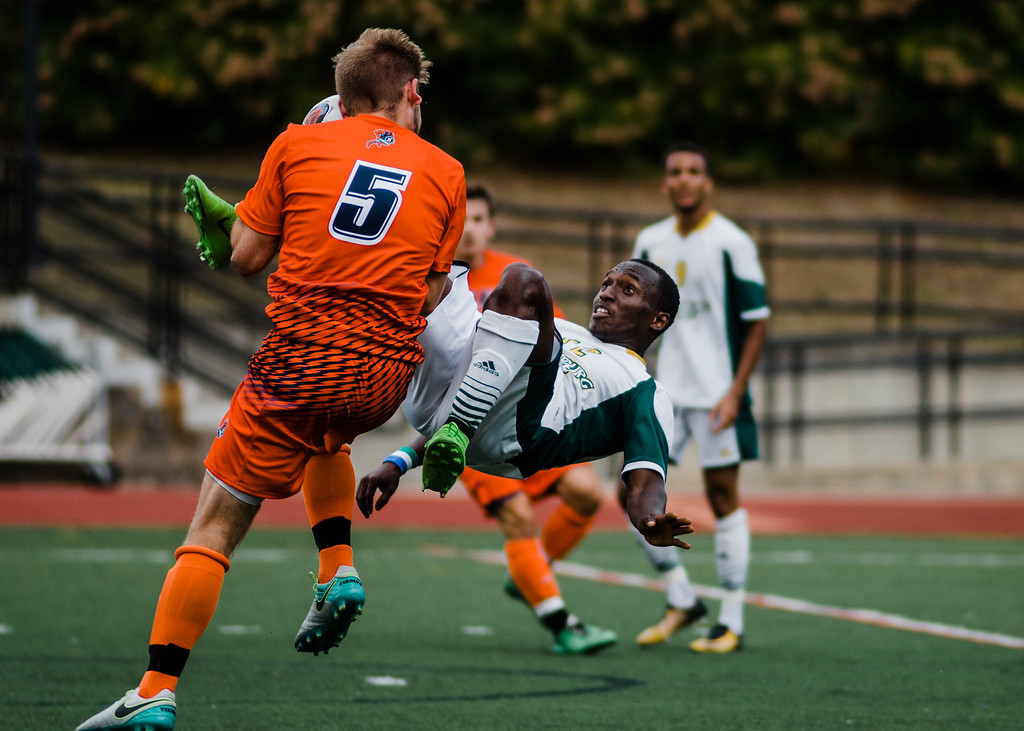 . Fitchburg State\'s Hassan Koroma in action during the game against Salem State on Saturday, October 7, 2017. SENTINEL & ENTERPRISE / Ashley Green