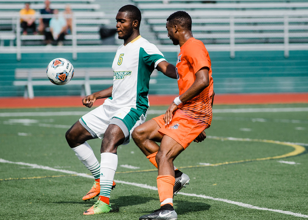 . Fitchburg State\'s Prince Boateng in action during the game against Salem State on Saturday, October 7, 2017. SENTINEL & ENTERPRISE / Ashley Green