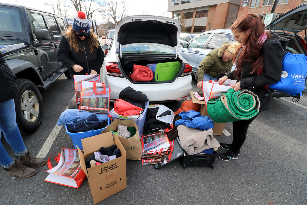. Nursing students from Fitchburg State University where in the parking lot behind Rye & Thyme in Leominster handing out clothing to the homeless on Thursday afternoon. Some of the stuff they had for the homeless. SENTINEL & ENTERPRISE/JOHN OVE