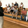 Fitchburg State Police Academy at the McKay building, July 20, 2019.  They had a family orientation day to let the family's of the cadets in on what is going on during their training. Leominster Police Sgt John Fraher chats with the cadets families. SENTINEL & ENTERPRISE/JOHN LOVE