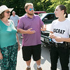 Fitchburg State Police Academy at the McKay building, July 20, 2019.  They had a family orientation day to let the family's of the cadets in on what is going on during their training. Cadet Alaina Socrat of Douglas, right, chats with her mom Patty and brother Nick at the end of their drills on Family orientation day. SENTINEL & ENTERPRISE/JOHN LOVE