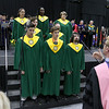 The Fitchburg State University Chamber Choir sings the schools alma mater at the inauguration ceremony for Richard S. Lapidus the 11th president of the University on Thursday afternoon at the Athletics & Recreation Center on the campus. SENTINEL & ENTERPRISE/JOHN LOVE