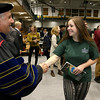 Fitchburg State University Sophomore Alexa Burnes of Northwood N.H. shakes hands with the new President Richard S. Lapidus after the inauguration ceremony that made him the 11th president of the University on Thursday afternoon at the Athletics & Recreation Center on the campus. SENTINEL & ENTERPRISE/JOHN LOVE