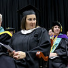State Senator Jennifer Flanagan listens to the Innovata Brass at the inauguration ceremony for Richard S. Lapidus the 11th president of Fitchburg State University on Thursday afternoon at the Athletics & Recreation Center on the campus. SENTINEL & ENTERPRISE/JOHN LOVE