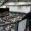 Fitchburg State University police Lt. Bill Fisher watches over the inauguration ceremony for Richard S. Lapidus the 11th president of the University on Thursday afternoon at the Athletics & Recreation Center on the campus. SENTINEL & ENTERPRISE/JOHN LOVE