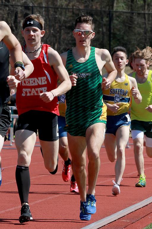. Fitchburg State University track on April 6, 2019. Competing in the 1500 meter is FSU\'s Joe Darrigo from Tewksbury. SENTINEL & ENTERPRISE/JOHN LOVE