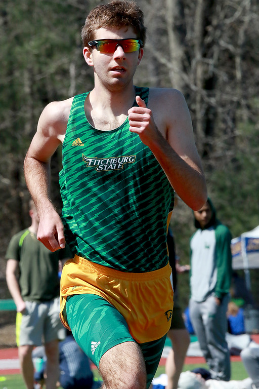 . Fitchburg State University track on April 6, 2019. Competing in the 1500 meter is FSU\'s Andrew Hill from Templeton. SENTINEL & ENTERPRISE/JOHN LOVE