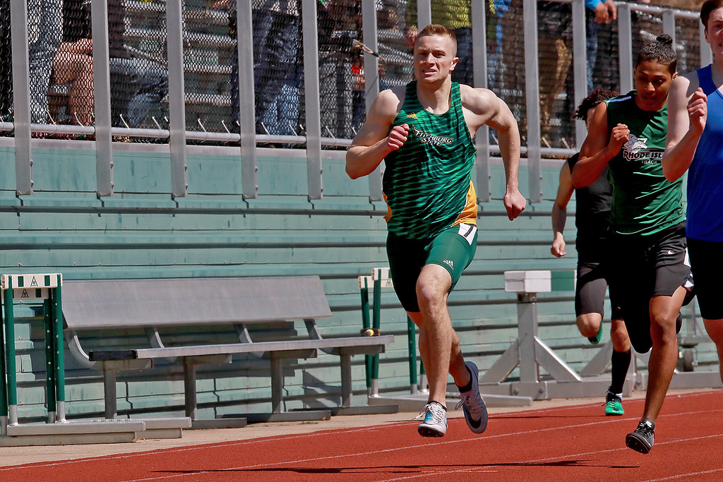 . Fitchburg State University track on April 6, 2019. Competing in the 400 meter race is FSU\'s Mik Masterson from Pepperell. SENTINEL & ENTERPRISE/JOHN LOVE