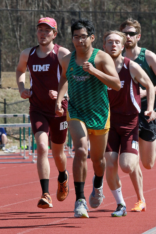 . Fitchburg State University track on April 6, 2019. Competing in the 1500 meter is FSU\'s Sam Kupperstein from Lincoln MA.  SENTINEL & ENTERPRISE/JOHN LOVE