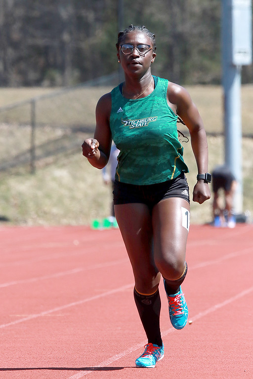 . Fitchburg State University track on April 6, 2019. Competing in the 400 meter is FSU\'s Phedelia Boakye from Lowell. SENTINEL & ENTERPRISE/JOHN LOVE