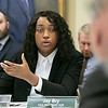Fichtburg State University Board of Trustees held a meeting on Tuesday morning, Jan 28, 2020 at the Presidents' Hall - Mazzaferro Center on Campus. Student Trustee Crystal Aneke asks a question about the schools pool during the meeting. SENTINEL & ENTERPRISE/JOHN LOVE