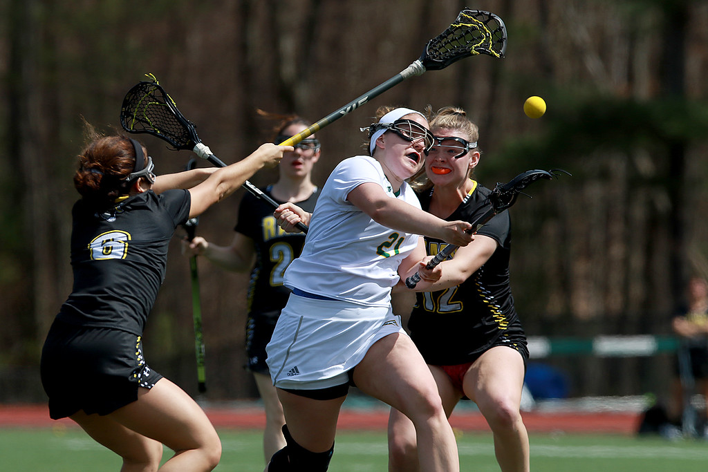 . Fitchburg State University women\'s lacrosse played Framingham State University on Saturday afternoon at FSU\'s Elliot Field Athletic Complex in Fitchburg. Fitchburg\'s Jillian Whalen fires a shot on Framingham\'s goal for a point in the second half of the game. SENTINEL & ENTERPRISE/JOHN LOVE
