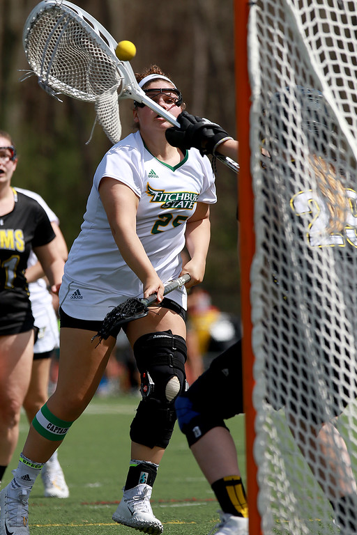 . Fitchburg State University women\'s lacrosse played Framingham State University on Saturday afternoon at FSU\'s Elliot Field Athletic Complex in Fitchburg. Fitchburg\'s Tracy Long fires a shot on Framingham\'s goal for a point in the second half. SENTINEL & ENTERPRISE/JOHN LOVE