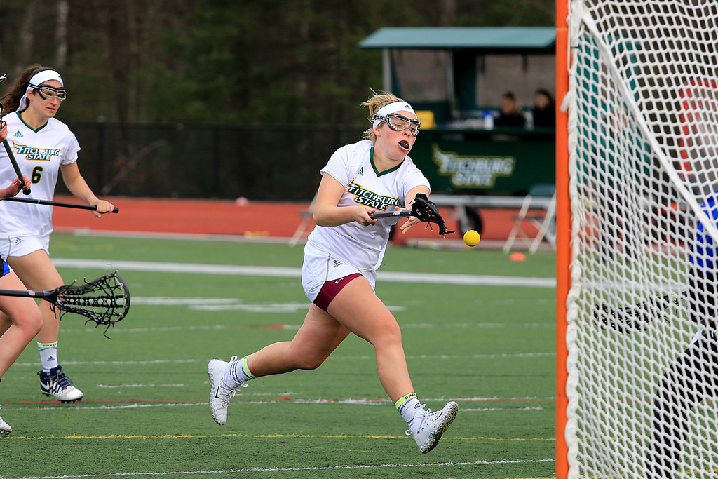 . Fitchburg State University women\'s lacrosse played Colby Sawyer on Tuesday afternoon at FSU\'s Elliot Field in Fitchburg. FSU\'s Julia Miele fires a shot on CSC\'s goal during action in the game. SENTINEL & ENTERPRISE/JOHN LOVE