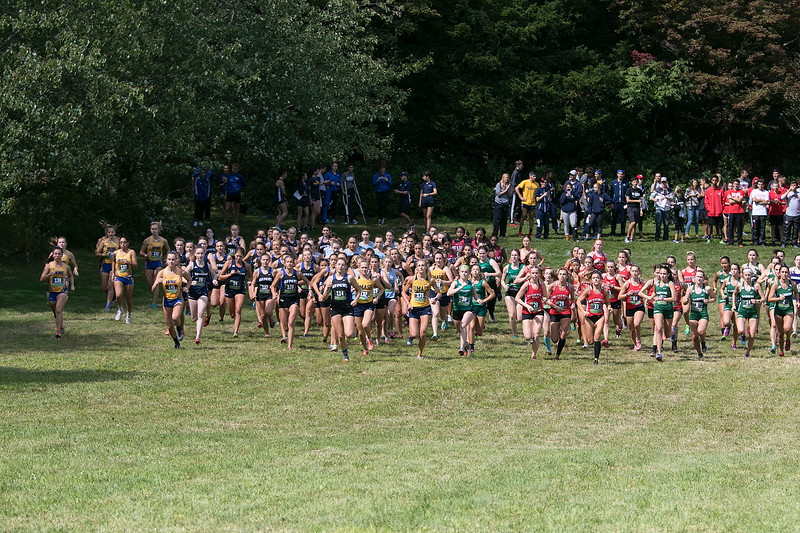 Fitchburg State University Cross Country teams held the Jim Sheehan Memorial Invitational at the Doyle Conservation Area in Leominster on Saturday, September 7, 2019. The start of the womens race. SENTINEL & ENTERPRISE/JOHN LOVE
