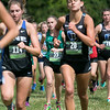 Fitchburg State University Cross Country teams held the Jim Sheehan Memorial Invitational at the Doyle Conservation Area in Leominster on Saturday, September 7, 2019.  In the center of the crowd is FSU's Olivia Mullins (#55). SENTINEL & ENTERPRISE/JOHN LOVE